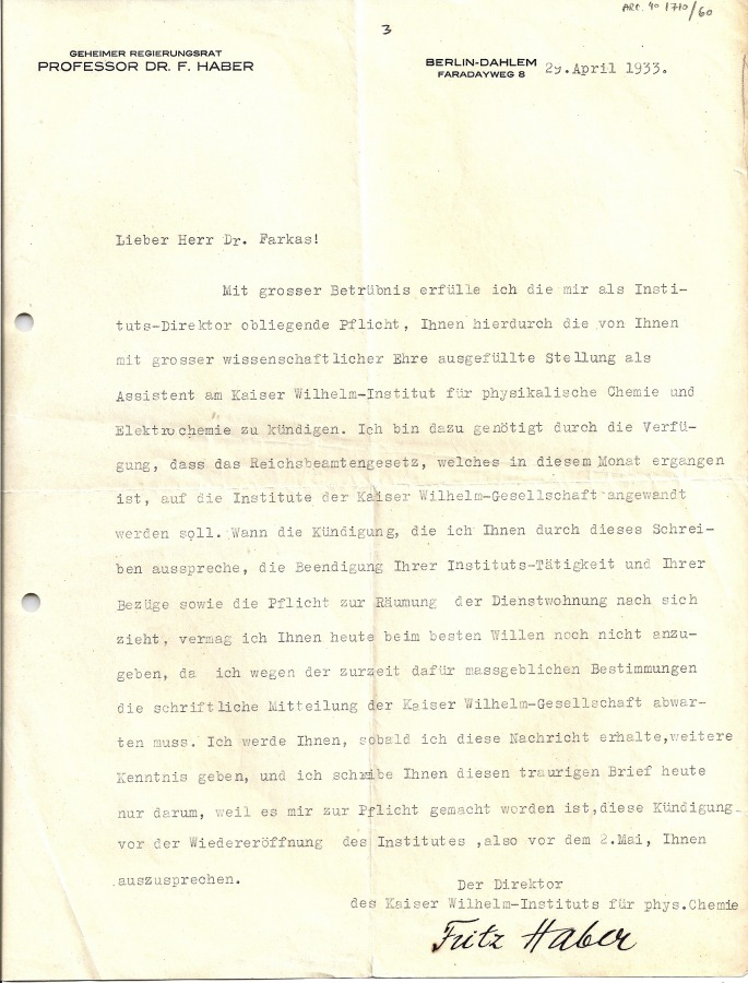 Haber letter to Farkas